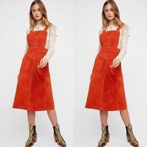 Free People | Apron Jumper Dress Suede Size 2